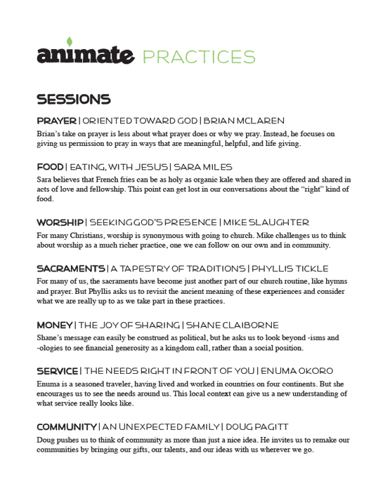Animate: Practices Scope and Sequence