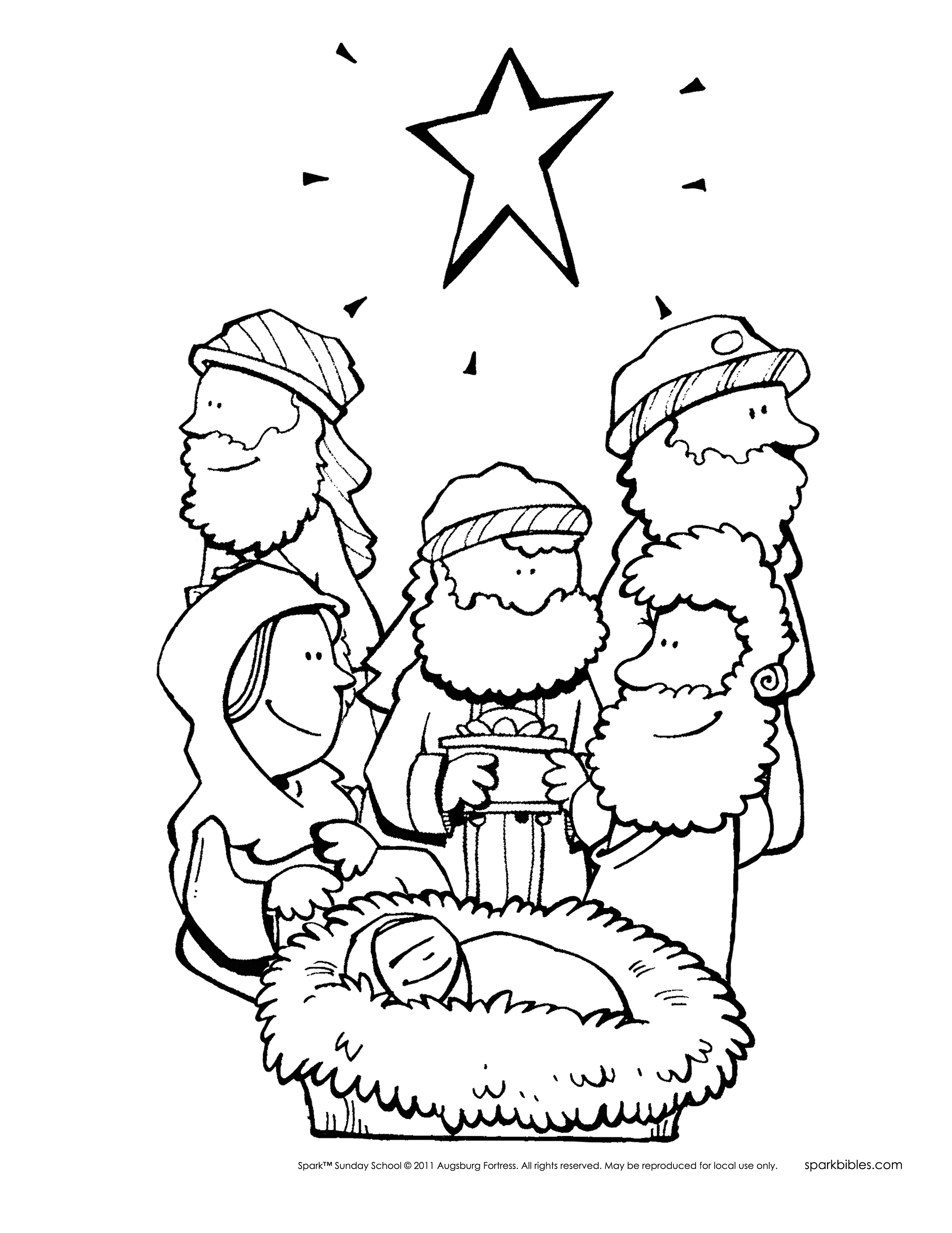 Wise Men Worship Jesus Coloring Page - Get Coloring Pages | 3300x2550